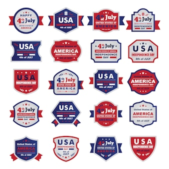 """"""""""" Dia da independência feliz Estados Unidos da América, 04 de julho. Um conjunto de quadros Plano / emblemas """""""""""