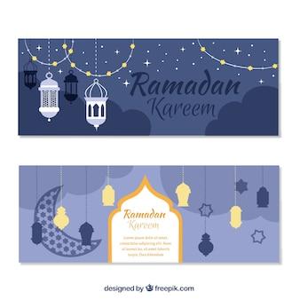 Ramadan kareem banners com objetos decorativos