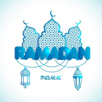 Ramadan Kareem cartão com texto Ramadan e mesquita
