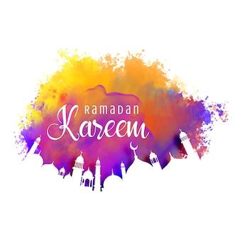 Ramadan kareem fundo com efeito de aquarela