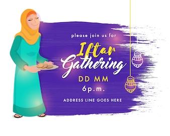 Ramadan Kareem, Iftar que recolhe o projeto de cartão do convite, fundo abstrato do curso da escova com ilustração da mulher muçulmana que serve o alimento