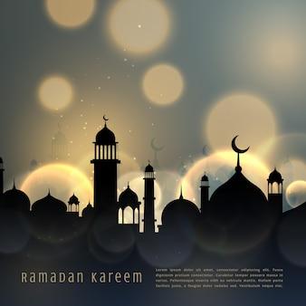 Ramadan, kareem, islâmico, sazonal, saudação, bokeh, efeito