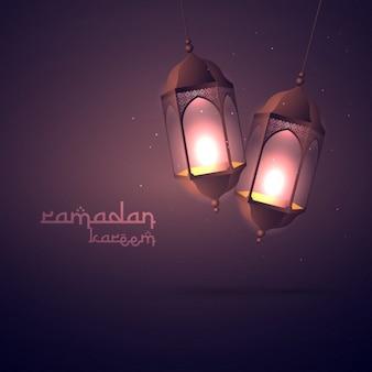 Ramadan Kareem saudação com lâmpadas penduradas