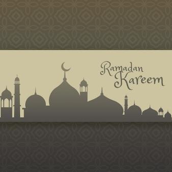 Ramadan Kareem saudação com silhueta mesquita