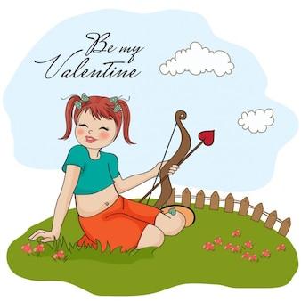 Rapariga bonita com arco do cupido dos namorados Cartão do dia