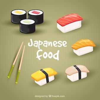 Realista pacote de comida japonesa