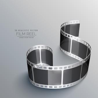 Realista, vetorial, 3D, película, faixa, fundo