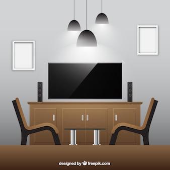 Realistic sala com móveis de madeira