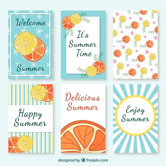 Recolha de cartão bonito do verão com frutas