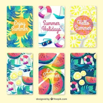 Recolha de cartão bonito do verão no efeito aquarela