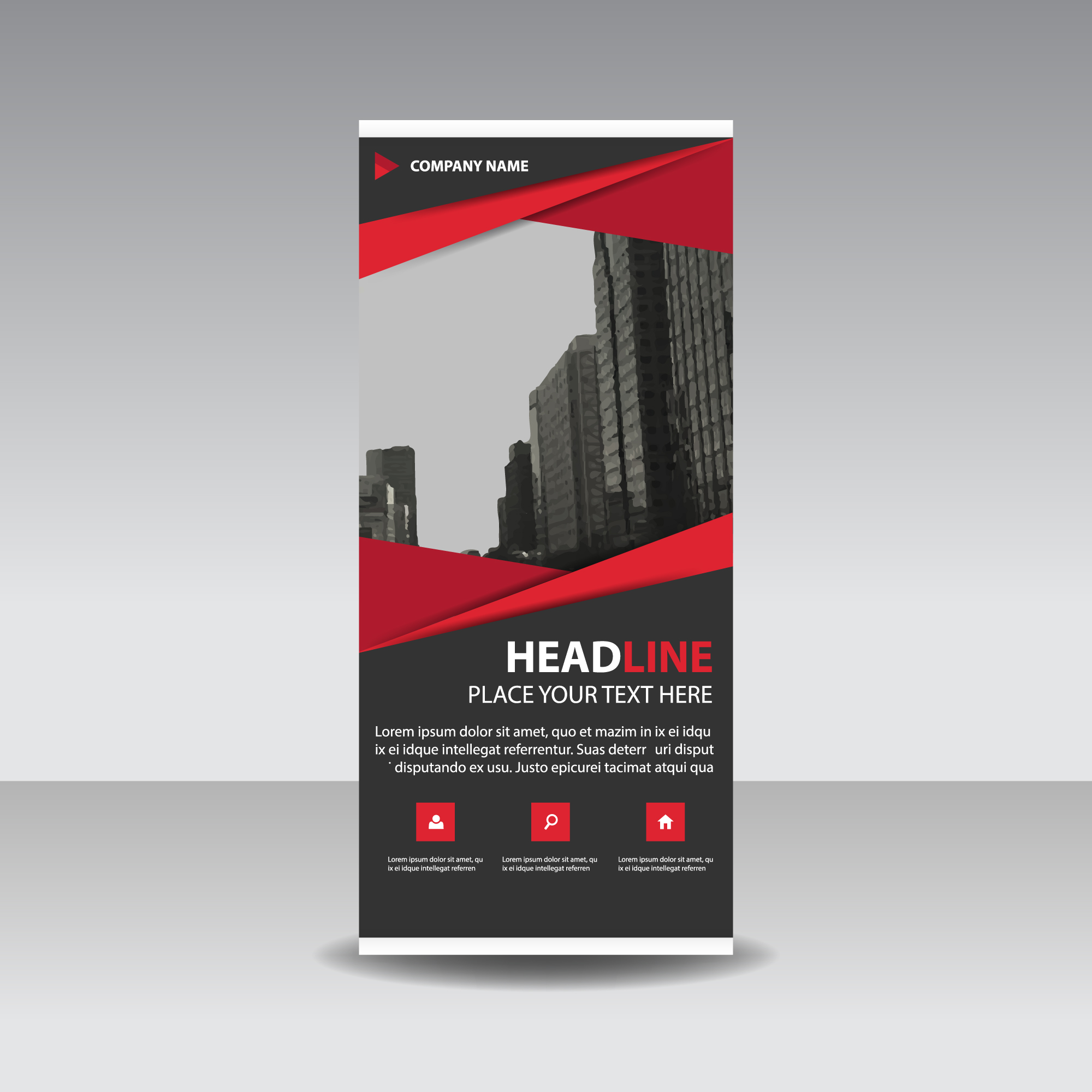 Red creativo roll up banner modelo