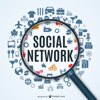 Rede social de fundo com ícones