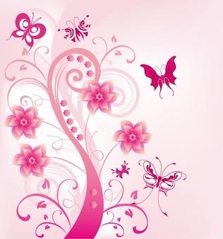 redemoinho floral rosa com borboletas ilustração vetorial