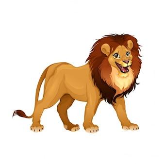 Rei do leão dos desenhos animados do vetor isolado animais