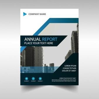 Relatório anual de capa do livro azul abstrato