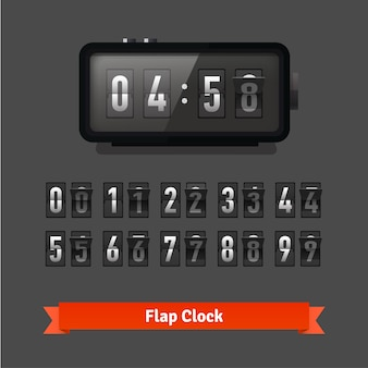 Relógio de patilha de tabela e modelo de contador de números