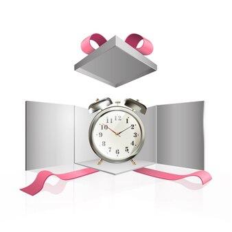 Relógio dentro da caixa presente