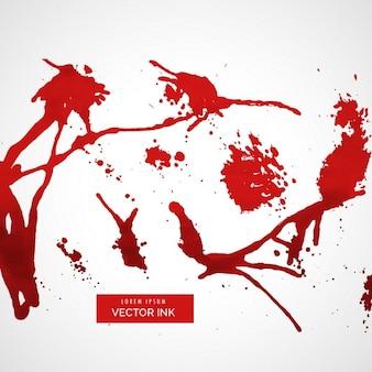 Respingos de tinta vermelha