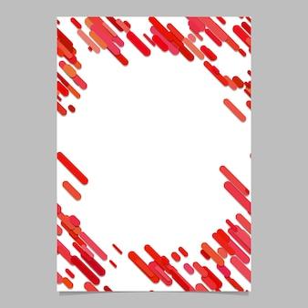 Resumo caótico redondeado modelo de folheto de padrão de listra diagonal - design de fundo de folheto vetorial em branco de listras em tons vermelhos