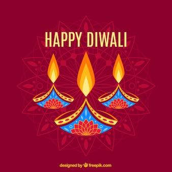 Resumo de fundo com velas de Diwali