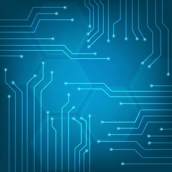 Resumo de pontos conectados no fundo azul brilhante. Conceito de tecnologia.