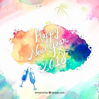 Resumo do ano novo de 2018 com manchas de aguarela
