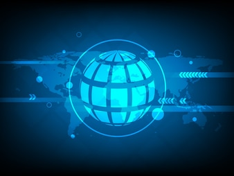 Resumo do mapa global do mundo Círculo de fundo da tecnologia digital, elementos da estrutura futurista conceito de design de fundo