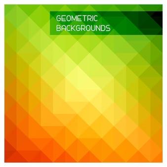 Resumo do mosaico. Triângulo de fundo geométrico. Elementos de design. Ilustração do vetor. Amarelo, laranja, cores vermelhas.