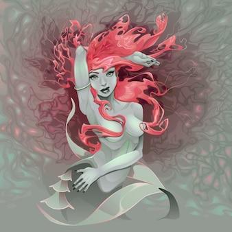 Retrato de uma sereia vetor