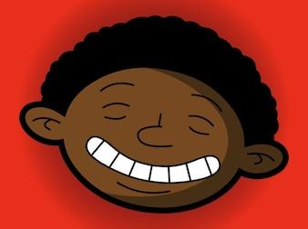 retrato dos desenhos animados de um garoto negro