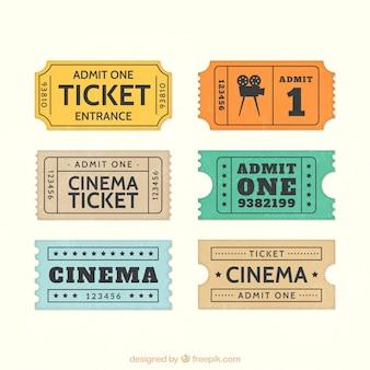 Retro bilhetes de cinema