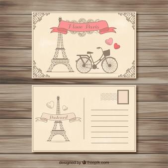 Retro cartão postal Paris