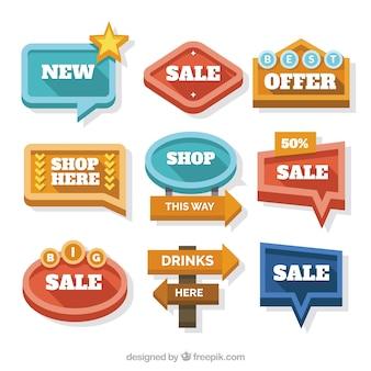 Retro cartazes de coleção de vendas em design plano