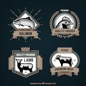 Retro coleção de emblemas animais
