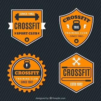Retro crossfit adesivos conjunto