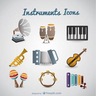 Retro instrumentos musicais vetor ajustados