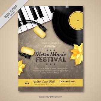 Retro music festival folheto