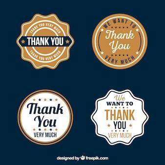 Retro pacote de etiqueta de agradecimento