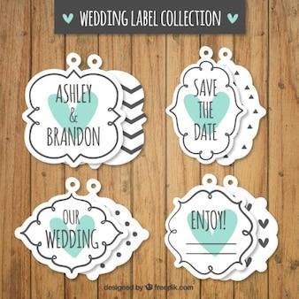 Retro pacote de etiquetas do casamento