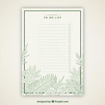 Retro para fazer a lista com vegetação verde