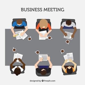 Reunião de negócios com documentos e café