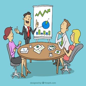 Reunião de negócios dos desenhos animados