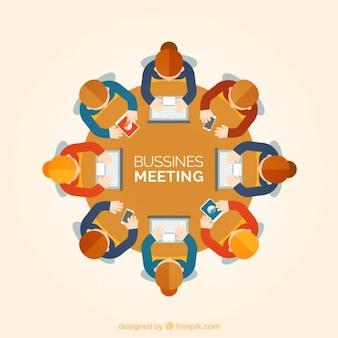reunião de negócios em vista de cima