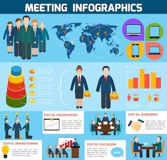 Reunião de negócios reunião de discussão discussão discussão infografia com gráficos ilustração vetorial