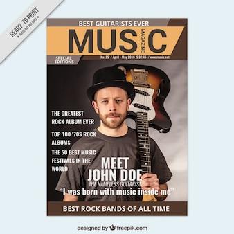 Revista sobre música com uma tampa músico