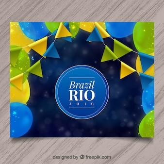 Rio 2016 panfleto com balões e guirlandas coloridas