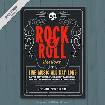 Rock and roll música festival poster