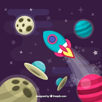 Rocket fundo no espaço com planetas em design plano