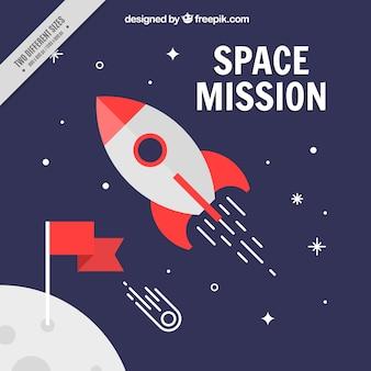 Rocket no fundo do espaço no design plano