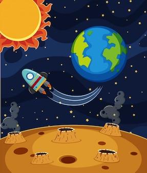 Rocket ride no espaço escuro